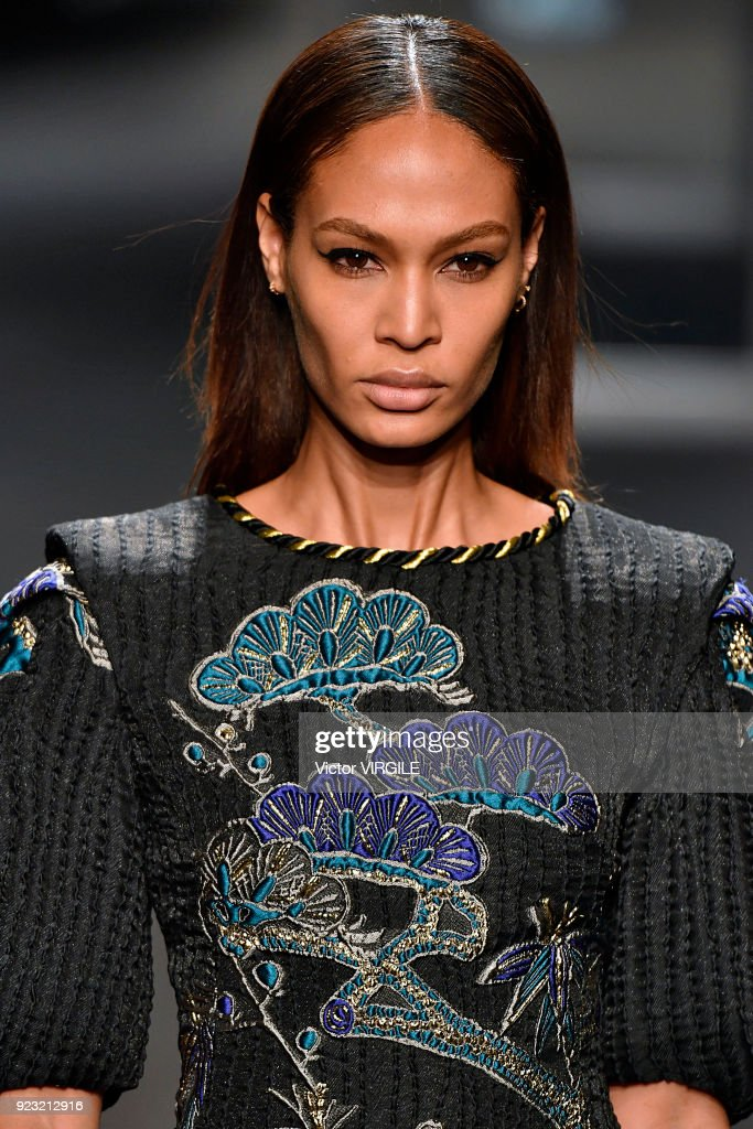 Joan Smalls walks the runway at the Alberta Ferretti Ready to Wear Fall/Winter 2018-2019 fashion show during Milan Fashion Week Fall/Winter 2018/19 on February 21, 2018 in Milan, Italy.