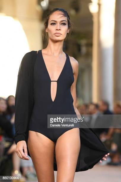 Joan Smalls walks the runway at the Alberta Ferretti show during Milan Fashion Week Spring/Summer 2018 on September 20 2017 in Milan Italy