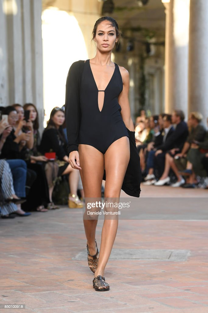 Joan Smalls walks the runway at the Alberta Ferretti show during Milan Fashion Week Spring/Summer 2018 on September 20, 2017 in Milan, Italy.