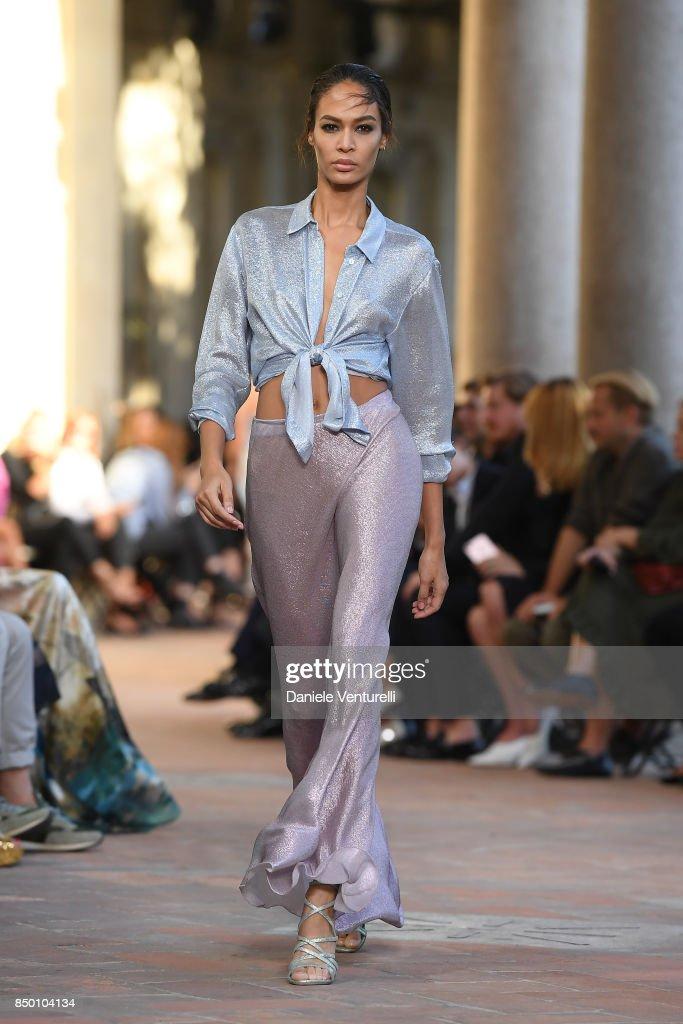 Joan Smalls walks the runway at the Alberta Ferretti show during Milan Fashion Week Spring/Summer 2018 on September 20, 2017 in Milan, Italy.