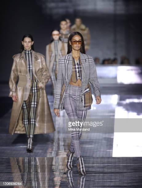 Joan Smalls walks the runway at the Burberry show during London Fashion Week February 2020 on February 17, 2020 in London, England.