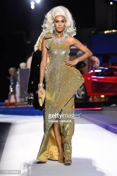 Joan Smalls walks the runway at the Moschino show at Milan Fashion Week Autumn/Winter 2019/20 on February 21 2019 in Milan Italy