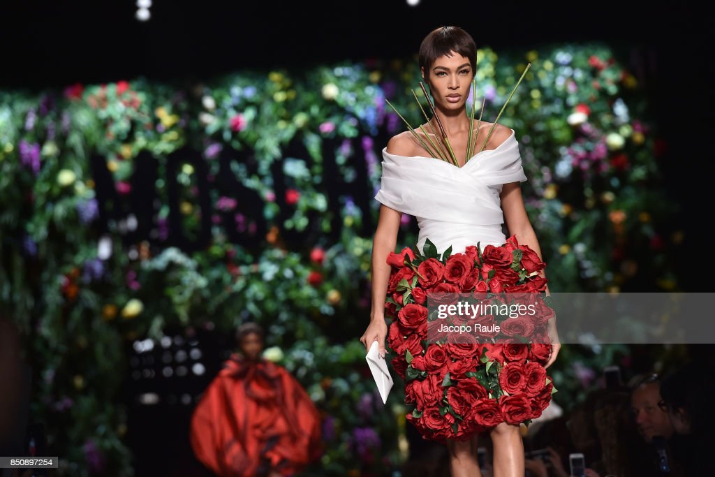 Joan Smalls walks the runway at the Moschino show during Milan Fashion Week Spring/Summer 2018 on September 21, 2017 in Milan, Italy.