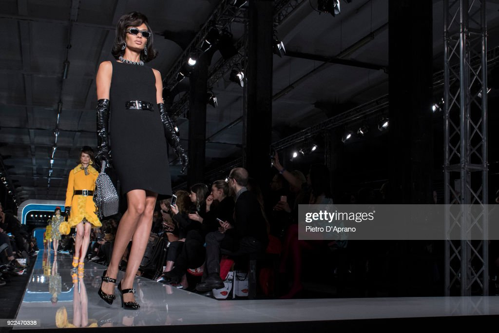 Joan Smalls walks the runway at the Moschino show during Milan Fashion Week Fall/Winter 2018/19 on February 21, 2018 in Milan, Italy.