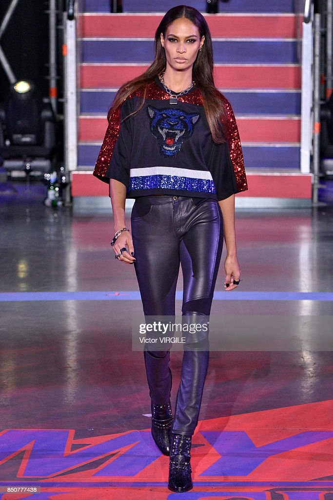 Joan Smalls walks the runway at the Tommy Hilfiger Ready to Wear Spring/Summer 2018 fashion show during London Fashion Week September 2017 on September 19, 2017 in London, England