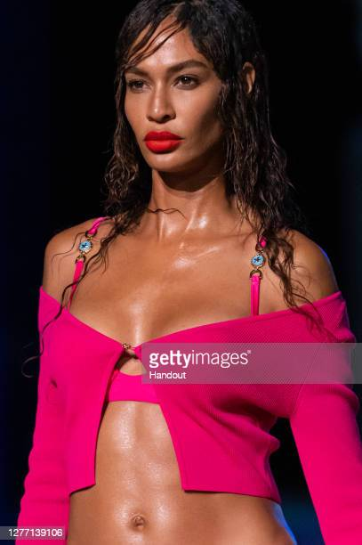 Joan Smalls walks the runway at the Versace fashion show during the Milan Women's Fashion Week on September 25, 2020 in Milan, Italy.