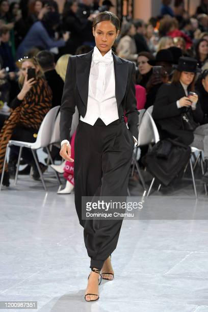 Joan Smalls walks the runway during the Alexandre Vauthier Haute Couture Spring/Summer 2020 show as part of Paris Fashion Week on January 21, 2020 in...