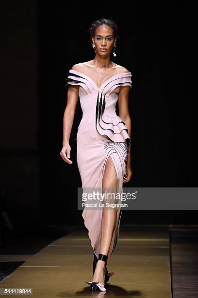 Joan Smalls walks the runway during the Atelier Versace Haute Couture Fall/Winter 20162017 show as part of Paris Fashion Week on July 3 2016 in Paris...
