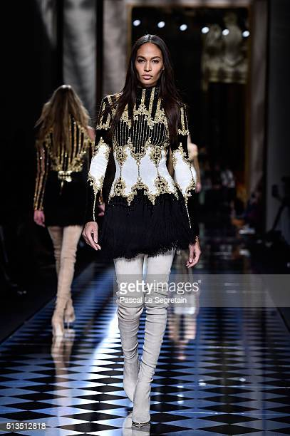 Joan Smalls walks the runway during the Balmain show as part of the Paris Fashion Week Womenswear Fall/Winter 2016/2017 on March 3 2016 in Paris...