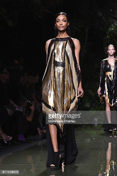 Joan Smalls walks the runway during the Balmain show as part of the Paris Fashion Week Womenswear Spring/Summer 2017 on September 29 2016 in Paris...