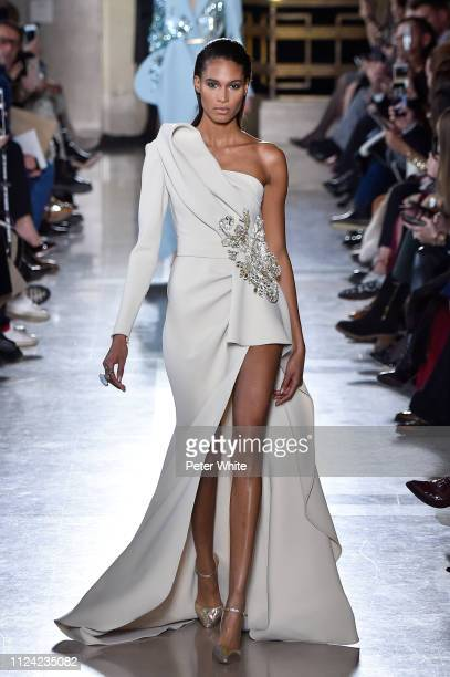 Joan Smalls walks the runway during the Elie Saab Spring Summer 2019 show as part of Paris Fashion Week on January 23 2019 in Paris France