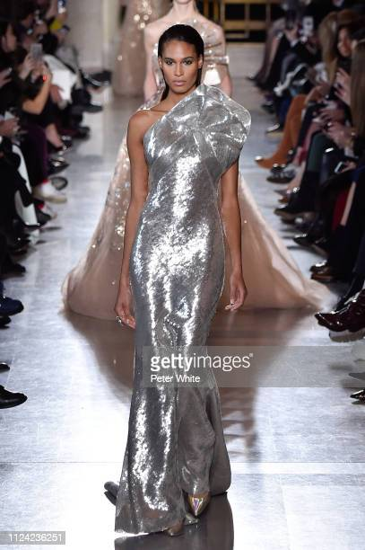 Joan Smalls walks the runway during the Elie Saab Spring Summer 2019 show as part of Paris Fashion Week on January 23, 2019 in Paris, France.