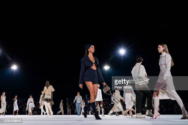 Joan Smalls walks the runway during the Jacquemus Menswear Fall/Winter 2020-2021 show as part of Paris Fashion Week on January 18, 2020 in Paris,...