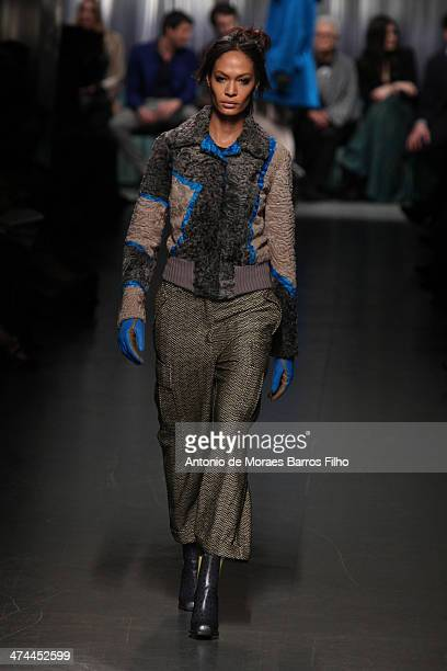 Joan Smalls walks the runway during the Missoni show as a part of Milan Fashion Week Womenswear Autumn/Winter 2014 on February 23 2014 in Milan Italy