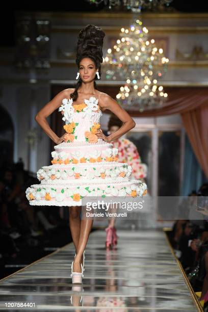 Joan Smalls walks the runway during the Moschino fashion show as part of Milan Fashion Week Fall/Winter 20202021 on February 20 2020 in Milan Italy