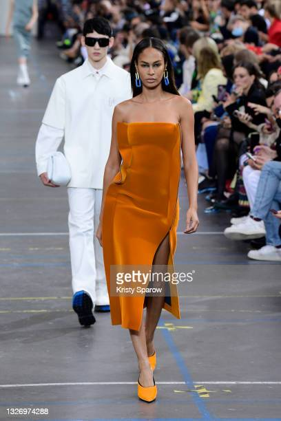 Joan Smalls walks the runway during the Off-White Fall/Winter 2021/2022 show as part of Paris Fashion Week on July 04, 2021 in Paris, France.