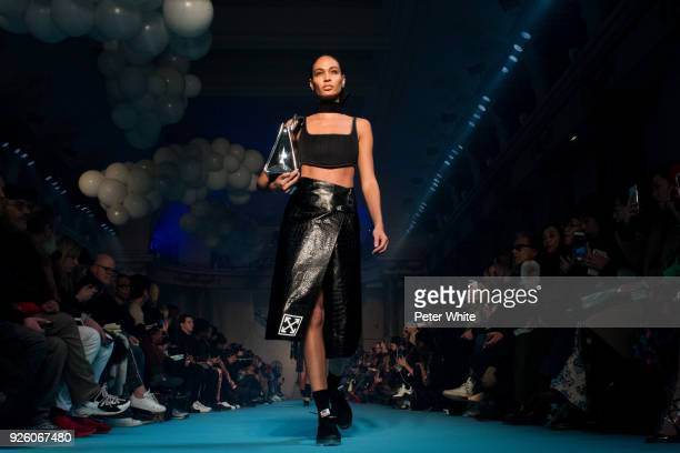 Joan Smalls walks the runway during the OffWhite show as part of the Paris Fashion Week Womenswear Fall/Winter 2018/2019 on March 1 2018 in Paris...
