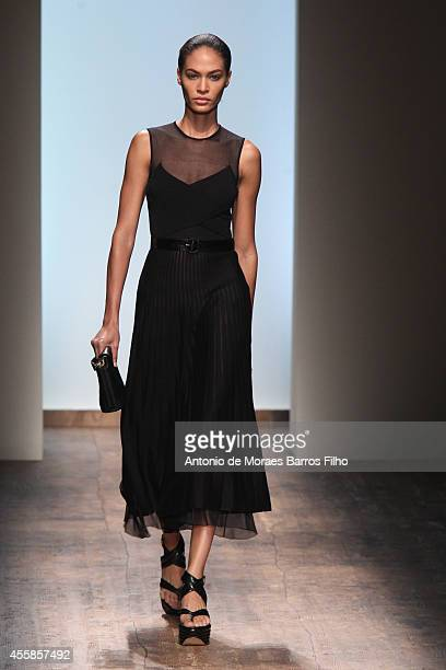 Joan Smalls walks the runway during the Salvatore Ferragamo as a part of Milan Fashion Week Womenswear Spring/Summer 2015 on September 21, 2014 in...