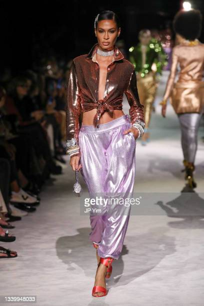 Joan Smalls walks the runway for Tom Ford SS22 during NYFW: The Shows at David H. Koch Theater, Lincoln Center on September 12, 2021 in New York City.