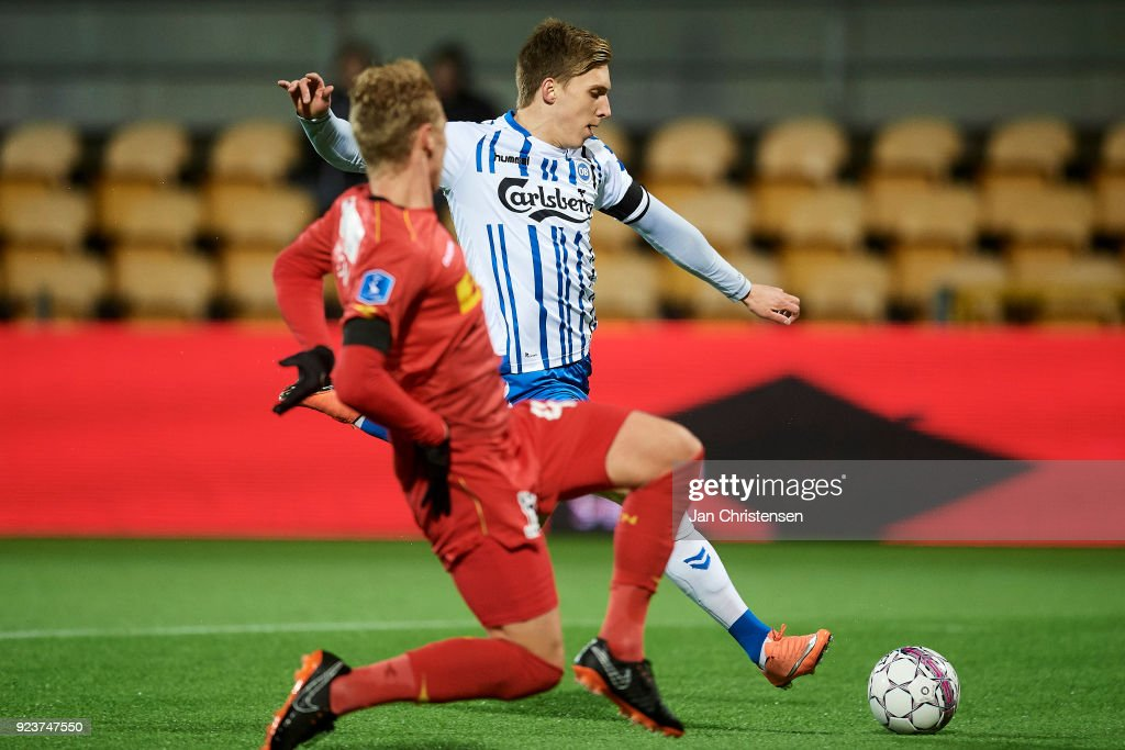 Joan Símun Edmundsson of OB Odense in action during the Danish Alka Superliga match between FC Nordsjalland and OB Odense at Right to Dream Park on February 16, 2018 in Farum, Denmark.