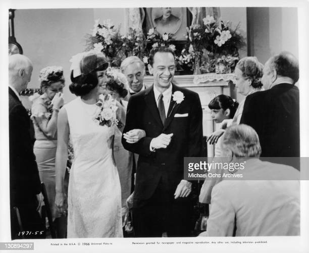 Joan Staley and Don Knotts at wedding in a scene from the film 'The Ghost And Mr Chicken' 1966