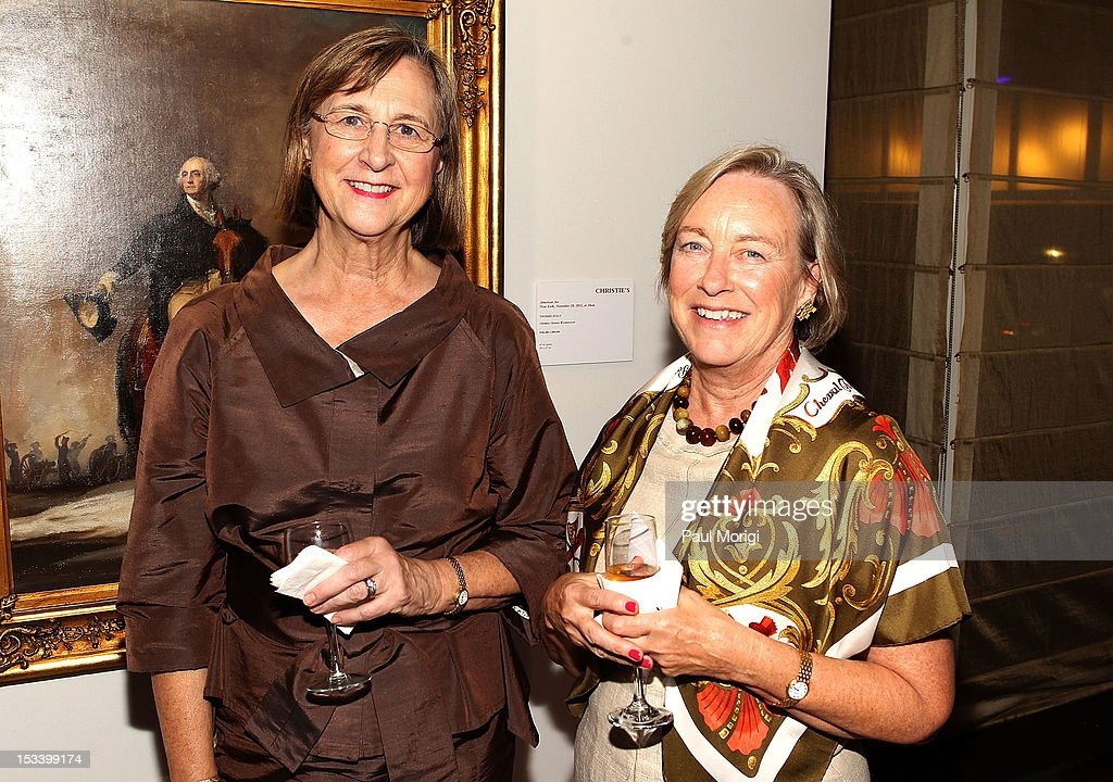 Joan Sterrett (L) and Pam Kloman attend an Exclusive Preview of Washington to Warhol: The Presidency in Art hosted by Christie's and JW Marriott at JW Marriott Hotel on October 4, 2012 in Washington, DC.
