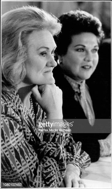 Joan Sutherland and Marilyn Horne at there Press ConferencePatrick Veitch of the Australian Opera Company watches as his two stars answer the...