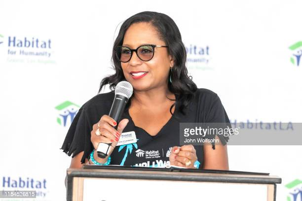 A JoAn Turman vice president of Entertainment Industry Services participates in a Habitat for Humanity build on June 07 2019 in Culver City California