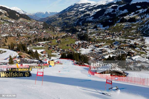 Joan Verdu of Andorra competes during the Audi FIS Alpine Ski World Cup Men's Giant Slalom on January 6 2018 in Adelboden Switzerland