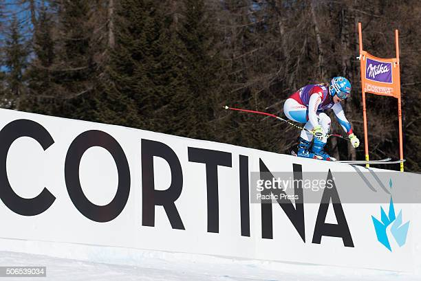 Joana Haehlen from Switzerland on course during the Downhill race in Cortina d'Ampezzo Italy