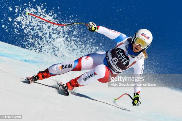 Joana Haehlen of Switzerland competes during the Audi FIS Alpine Ski World Cup Women's Downhill on February 23 2019 in Crans Montana Switzerland
