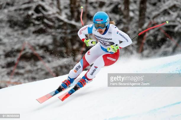 Joana Haehlen of Switzerland competes during the Audi FIS Alpine Ski World Cup Women's Downhill on February 3 2018 in GarmischPartenkirchen Germany