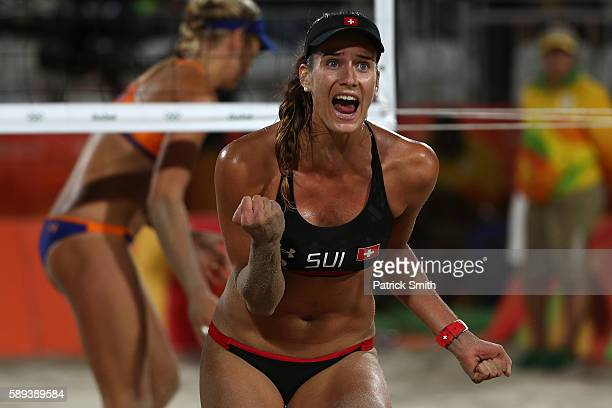 Joana Heidrich of Switzerland celebrates a point during a Women's Round of 16 match between Netherlands and Switzerland on Day 8 of the Rio 2016...