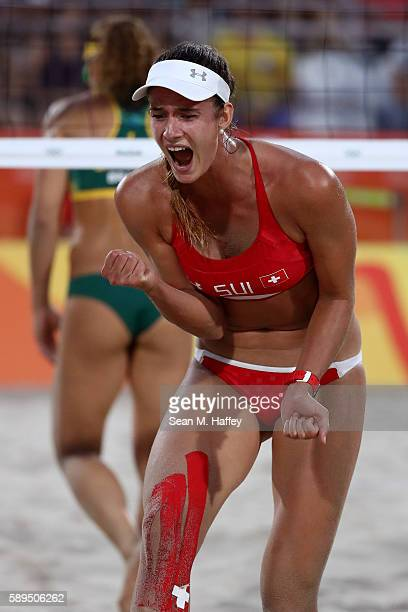 Joana Heidrich of Switzerland celebrates a point during a Women's Quarterfinal match between Brazil and Switzerland on Day 9 of the Rio 2016 Olympic...