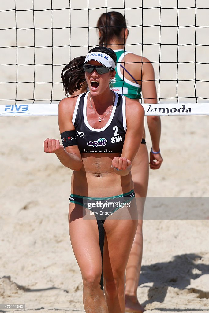 Joana Heidrich of Switzerland celebrates during Day 2 of the FIVB Moscow Grand Slam on May 27, 2015 in Moscow, Russia.