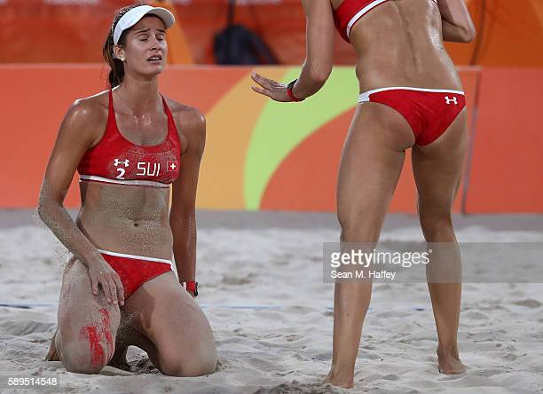 Joana Heidrich of Switzerland reacts during a Women's Quarterfinal match between Brazil and Switzerland on Day 9 of the Rio 2016 Olympic Games at the...