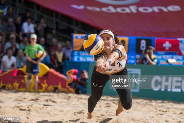 Joana Heidrich of Switzerland receives the ball during the match against Laura Ludwig and Kira Walkenhorst of Germany during Day 3 of the Swatch...