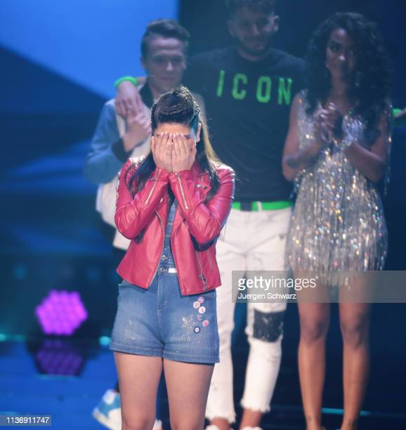Joana Kesenci reacts during the second event show of the tv competition Deutschland sucht den Superstar at Coloneum on April 13 2019 in Cologne...