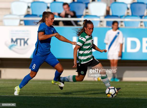 Joana Marchao of Sporting CP leaves Barbara Toth of MTK Hungaria FC behind during the UEFA Women's Champions League Qualifying match between Sporting...