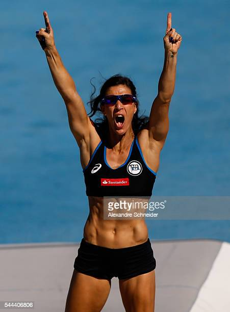 Joana Ribeiro Costa of Brazil competes in the Womens Pole Vault finals at Arena Caixa Complex to win the silver medal during day four of XXXV Brazil...