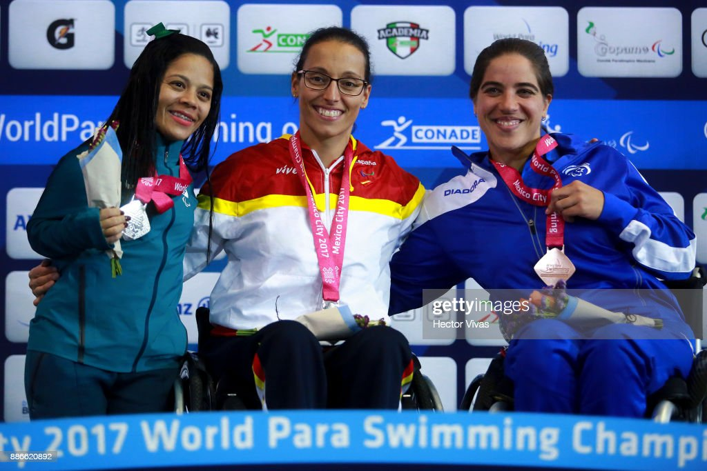 Joana Silva of Brazil (silver), Teresa Perales of Spain (gold) and Inbal Pezaro of Israel (bronze) pose after the Women's 50m Freestyle S5 Final during day 4 of the Para Swimming World Championship Mexico City 2017 at Francisco Marquez Olympic Swimming Pool. on November 5, 2017 in Mexico City, Mexico.