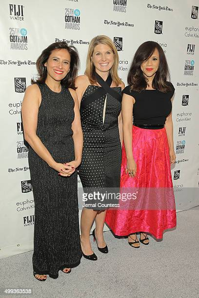 Joana Vicente and Rosie Perez attend the 25th IFP Gotham Independent Film Awards cosponsored by FIJI Water at Cipriani Wall Street on November 30...