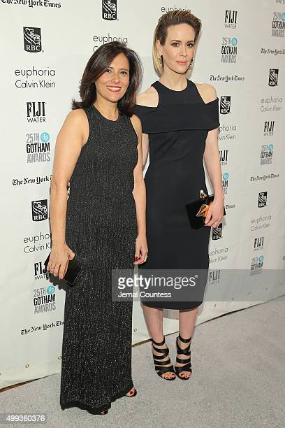 Joana Vicente and Sarah Paulson attend the 25th IFP Gotham Independent Film Awards cosponsored by FIJI Water on November 30 2015 in New York City