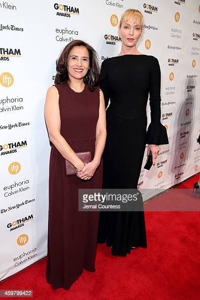Joana Vicente and Uma Thurman attend IFP's 24th Gotham Independent Film Awards at Cipriani Wall Street on December 1 2014 in New York City