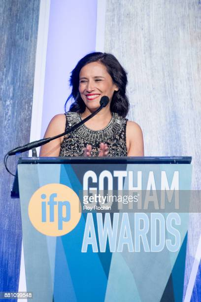 Joana Vincente speaks onstage during IFP's 27th Annual Gotham Independent Film Awards at Cipriani Wall Street on November 27 2017 in New York City