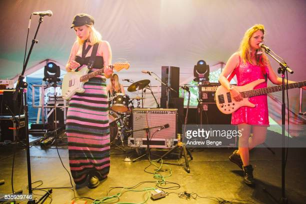 Joanie and Charlie of Madonnatron performs on the Rising stage during day 4 at Green Man Festival at Brecon Beacons on August 20, 2017 in Brecon,...