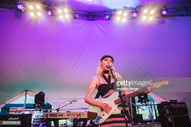 Joanie of Madonnatron performs on the Rising stage during day 4 at Green Man Festival at Brecon Beacons on August 20, 2017 in Brecon, Wales.