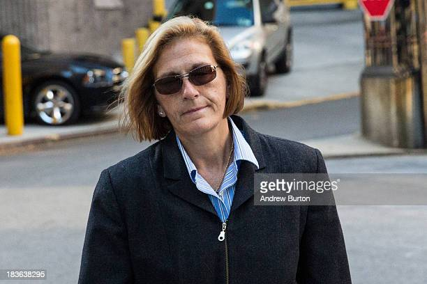JoAnn Crupi a former account manager working under Bernie Madoff arrives at Federal Court to begin a trial being brought against her by the federal...