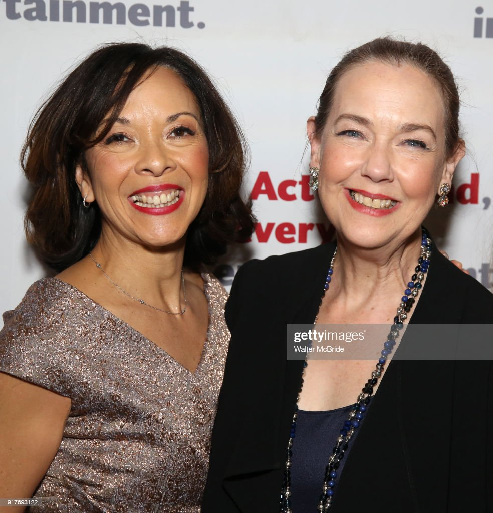 Joann M. Hunter and Harriet Harris attend the after party for the Actors Fund's 15th Anniversary Reunion Concert of 'Thoroughly Modern Millie' on February 18, 2018 at the Opry City Stage in New York City.