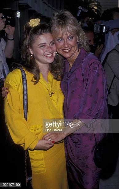 JoAnn Willette and Deborah Harmon attend ABC TV Affiliates Dinner on June 14 1989 at the Century Plaza Hotel in Century City California